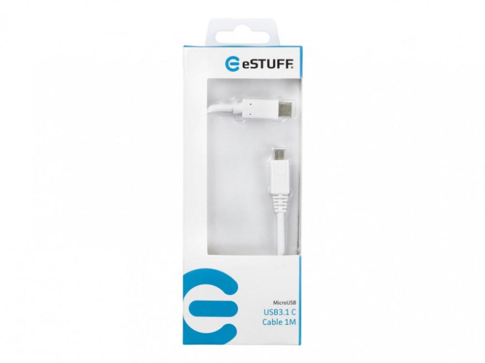eSTUFF USB3.1C till USB Micro 1m Vit