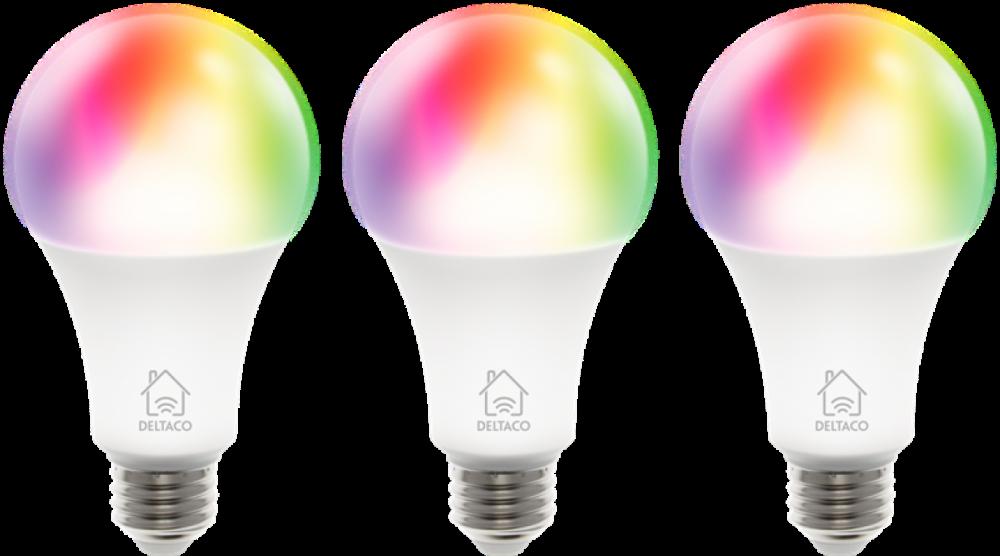 Deltaco 3-pack E27 RGB-LEDlampor